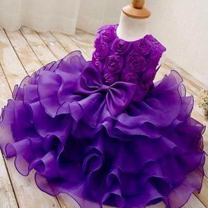 Other - 💜New! Purple Satin Bow Ruffle Tulle Tutu Dress